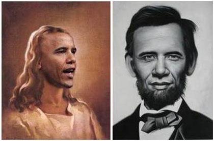 Обама като Исус Христос и А. Линкълн.