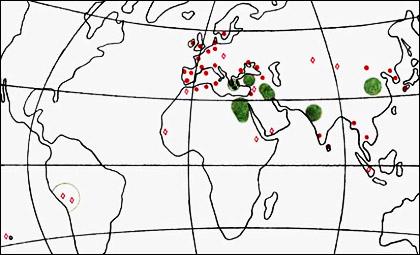 Карта на разпространение
