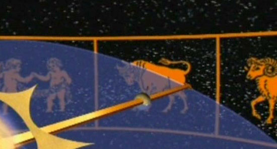 Кадър от филма: Пътешествието на Слънцето през зодиакалните знаци.
