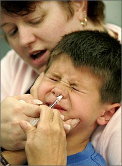 Медици вкарват жив вирус на свински грип през носа на дете.