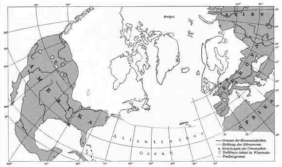 Карта на ледената покривка през т.нар. Ледна епоха