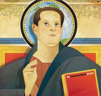 """Икона на преподобния Ал Гор, пастир на религиозното движение """"Глобално прегряване""""."""
